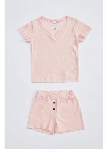 DeFacto Kız Bebek Baskılı Pamuklu Pijama Takımı Pembe